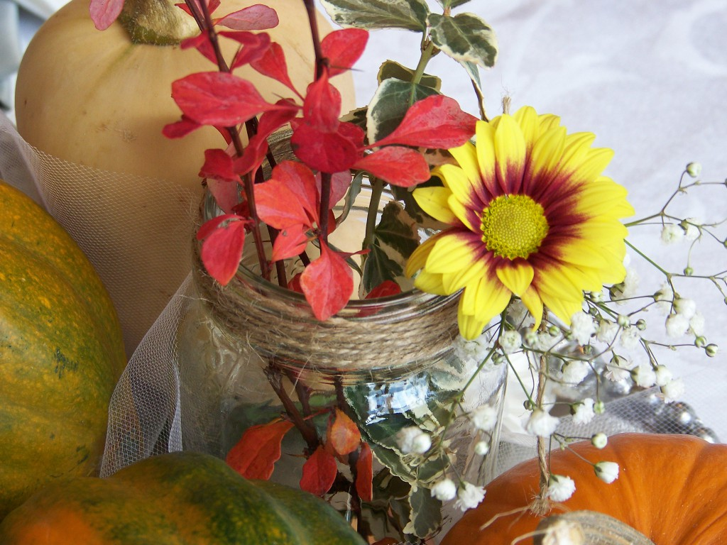 Fall wedding centerpieces with pumpkins and more