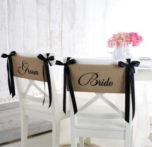 Black ribbon and burlap groom and bride sashes