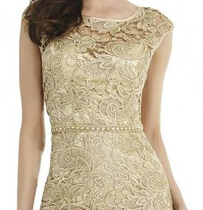 Lace and charmeuse gold dress