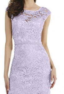 Lace and charmeuse lilac dress