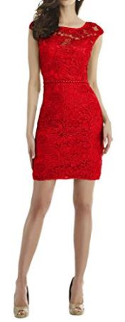 Lace and charmeuse red dress