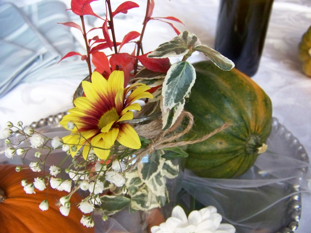 Closeup on flower and mason jar details