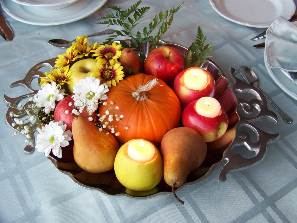 Pumpkin and real fruit candles centerpiece