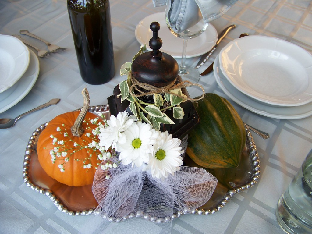Squashes and pumpkins wedding centerpiece