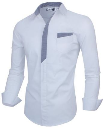 Men white dress shirt with contrasting detail