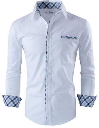 Men dress shirt with roll up sleeve detail