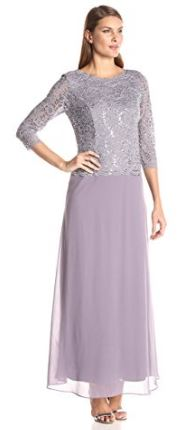 Alex Evenings lilac dress with sleeves