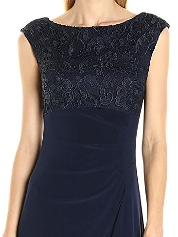 Alex evenings navy lace gown