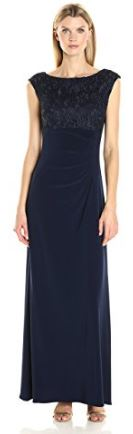 Long high waist navy dress drapped in the back