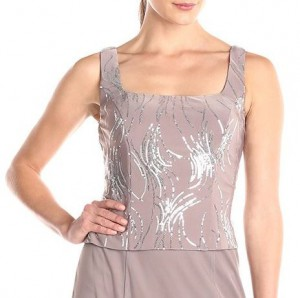 Evening gown with shimmering top