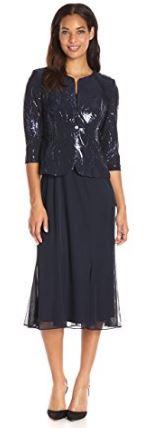 Below the knee dark blue jacket dress