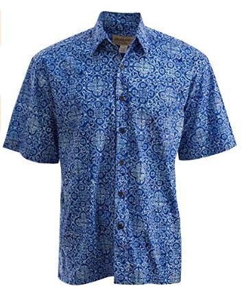 Tropical Moroccan batik casual wedding shirt