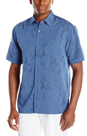 Floral Jacquard Beach Wedding Blue Shirt