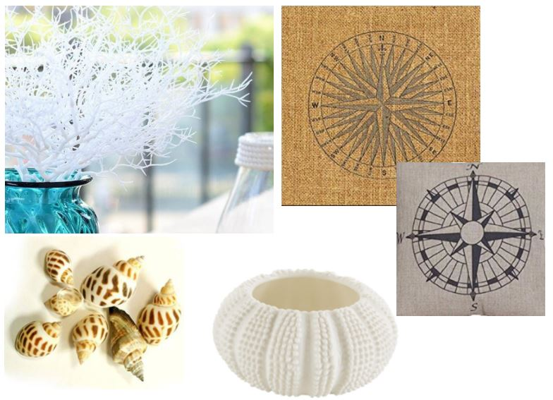 Beach wedding sea urchin teal light holder and shells