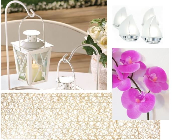 Beach wedding pink orchids and clear sail boat tealight holders