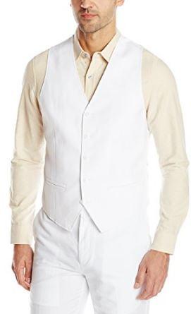 Beach wedding white sleeveless linen vest