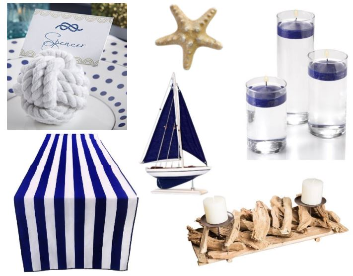 Beach wedding white blue striped table runner with knot place card holder