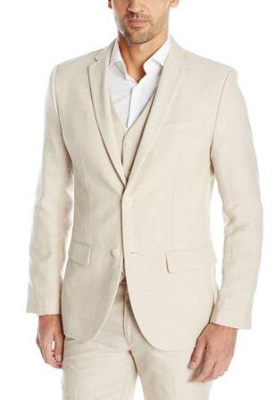 Beach wedding linen suit vest