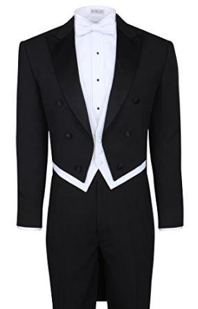 Double Breasted Tailcoat Black Wedding Tuxedo