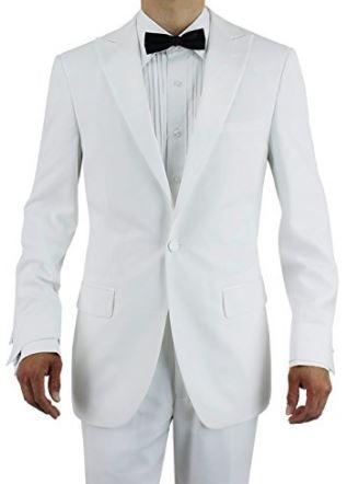 White Modern Fit Tuxedo With Hidden Elastic Waist