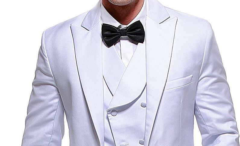 White Wedding Tuxedos - Groom and Groom\'s Men Tuxedos - Outside ...