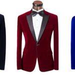 Dark blue, red and royal blue wedding tuxedos