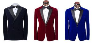 Dark blue, red and royal blue wedding tuxedos