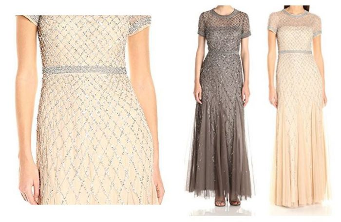 Wedding Guest Over 50 Beaded Mesh Gown