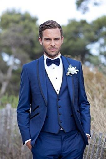 Royal blue groom tuxedo