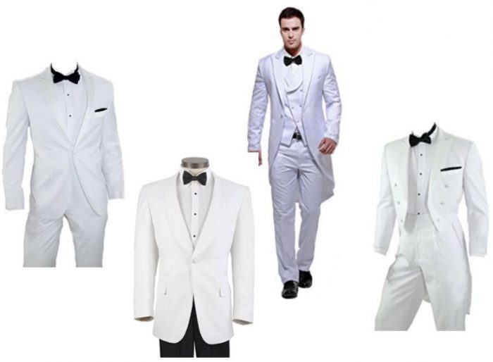 White traditional wedding tuxedo styles