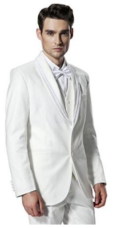White shawl lapel wedding tuxedo