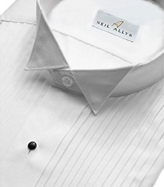 Wingtip tuxedo shirt with pleated front
