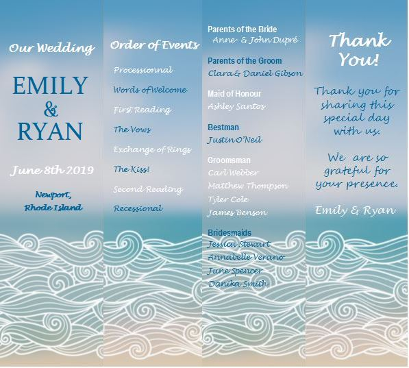 Beach theme wedding program