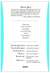 Free wedding program fan wording