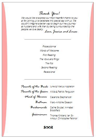 Wedding program fan free template