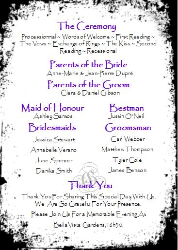 wedding program fan ceremony paragraph