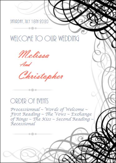 Wedding program order of events presentation ideas