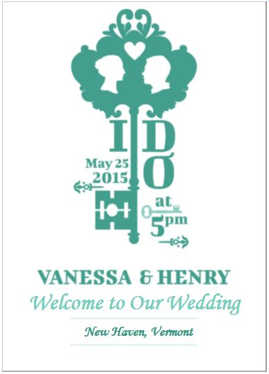 Vintage key unique wedding program designs