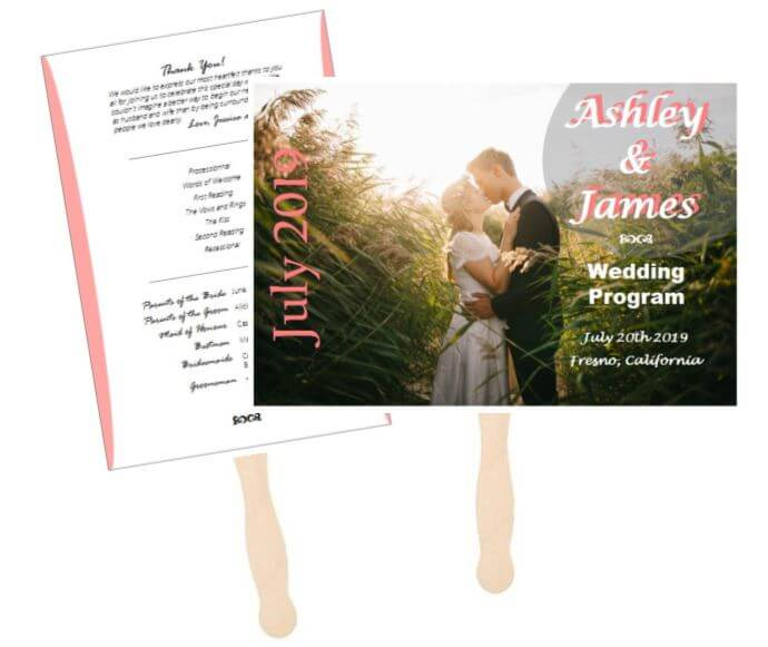 Custom wedding program fan outside the box wedding do it yourself wedding program fans solutioingenieria Image collections