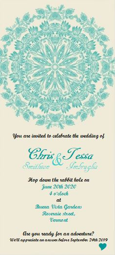 Alice Wonderland theme wedding invitation