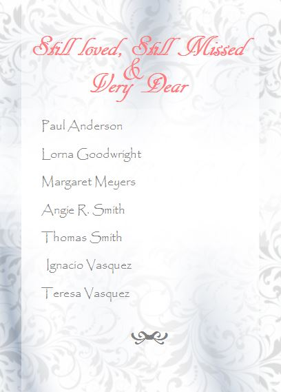 Wedding program tribute