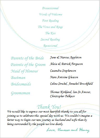 Minimalist wedding program examples