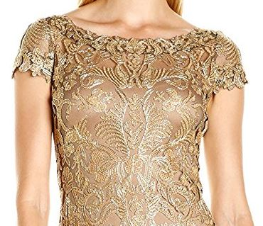 Elegant mother of the groom gold lace gown
