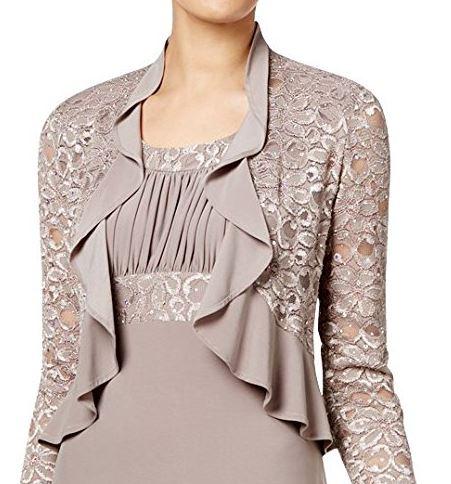 Sand color mother bride or groom jacket dress