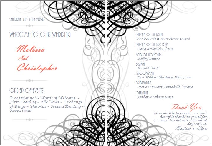 Biref wedding program examples