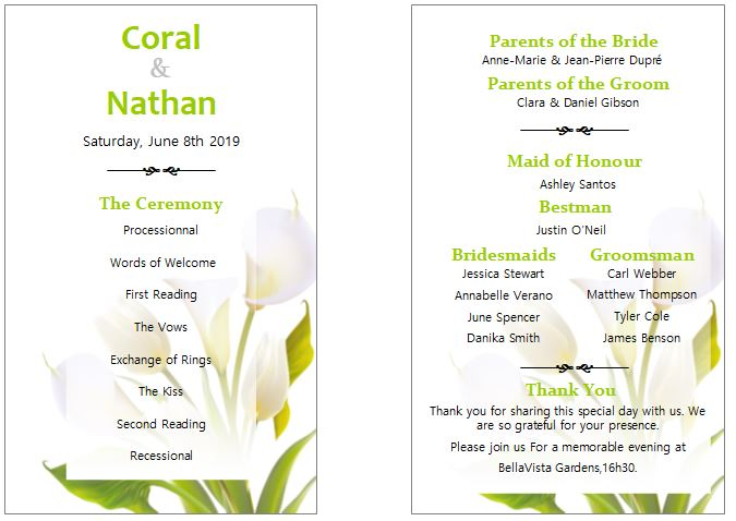 simple wedding program example