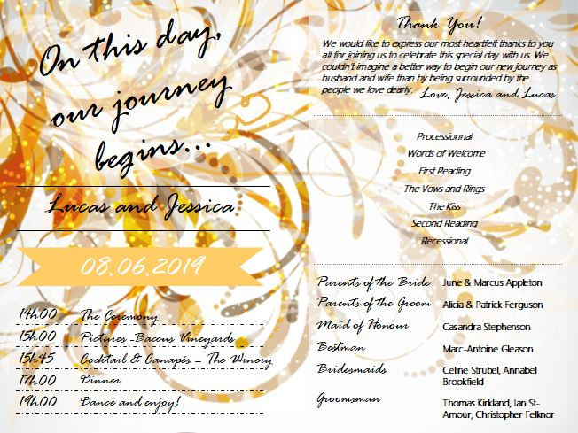 Wedding program example order of events