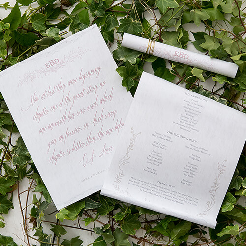 Scroll layout wedding program