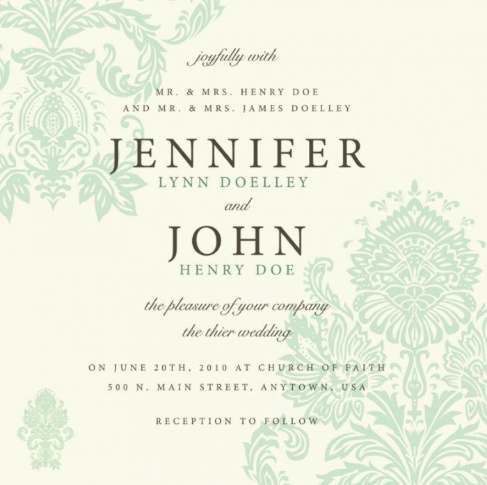 light damask wedding program cover design