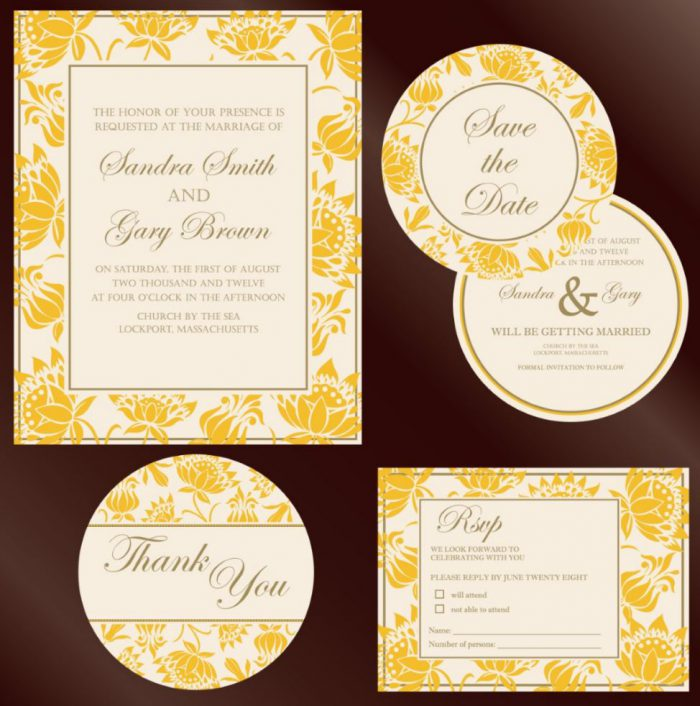 Wedding stationery kit with flower design